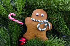 A gingerbread man with Christmas decorations Royalty Free Stock Photos