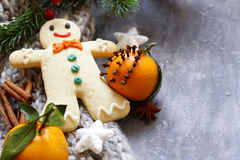 Gingerbread man and Christmas decorations Stock Image