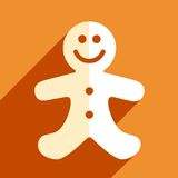 Gingerbread man christmas flat icon Stock Photo