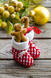 Gingerbread man in the christmas. Gingerbread man in a fur-tree toy in the form of boots Royalty Free Stock Photo