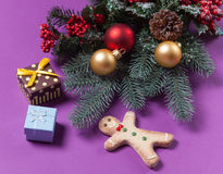 Gingerbread man and christmas gifts Royalty Free Stock Image