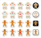Gingerbread man Christmas icons set Royalty Free Stock Photography