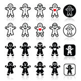 Gingerbread man Christmas icons set. Vector icons set of gingerbread man for Xmas on white vector illustration