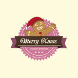 Gingerbread Man christmas label Stock Images