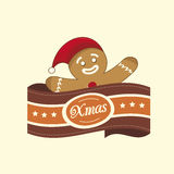 Gingerbread Man christmas label Royalty Free Stock Photo
