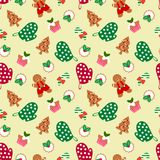 Gingerbread man and Christmas seamless pattern. Sweet and delicious Christmas concept royalty free illustration