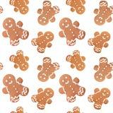 Gingerbread man christmas seamless pattern Stock Image