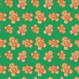 Gingerbread man christmas seamless pattern Stock Photos