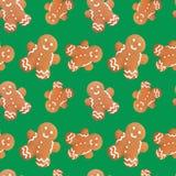 Gingerbread man christmas seamless pattern Royalty Free Stock Photo