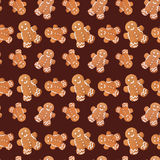 Gingerbread man christmas seamless pattern Royalty Free Stock Image
