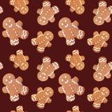 Gingerbread man christmas seamless pattern Royalty Free Stock Photos