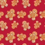 Gingerbread man christmas seamless pattern Stock Photo