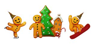Gingerbread man Christmas. Set of three different Gingerbread man cookies for Christmas greeting cards or illustration. Computer graphics royalty free illustration