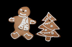 Gingerbread man and christmass tree Royalty Free Stock Photos