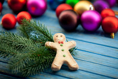 Gingerbread man with Chrsitmas toys Royalty Free Stock Photos