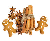 Gingerbread man with cinnamon sticks and star anise Stock Image