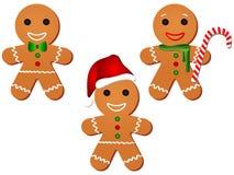 Gingerbread Man Clipart Set. Cute Vector Illustration Cartoon Gingerbread Man, set of three stock illustration