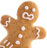 Gingerbread man. Close-up of gingerbread man on white background stock photos