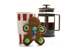 Gingerbread man and coffee stock photography