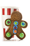 Gingerbread man and coffee royalty free stock image