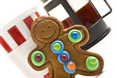 Gingerbread man and coffee Royalty Free Stock Photography
