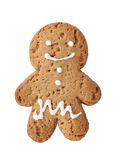 Gingerbread man cookie. Isolated on white background royalty free stock image