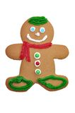 Gingerbread Man Cookie. Decorated gingerbread cookie isolated on white background with clipping path royalty free stock image