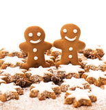 Gingerbread man cookie with cinnamon stars Royalty Free Stock Image