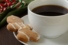 Gingerbread man cookie and coffee Stock Photo