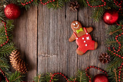 Gingerbread man cookie composition in fir tree Stock Photography