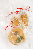 Gingerbread man cookie gift in clear bag Stock Photo
