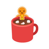 Gingerbread man cookie in hot chocolate cup royalty free illustration