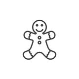 Gingerbread man cookie line icon, outline vector sign, linear pi. Ctogram isolated on white. logo illustration vector illustration