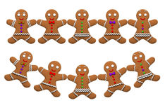 Gingerbread man cookie ornaments isolated Stock Images