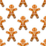 Gingerbread man cookie seamless Stock Photos