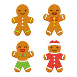 Gingerbread man cookie set stock illustration
