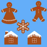 Gingerbread man cookie set. Funny cartoon gingerbread isolated on blue royalty free illustration