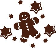 Gingerbread man with cookie stars. Vector stock illustration