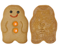 Gingerbread Man cookie, two sides Royalty Free Stock Images