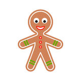 Gingerbread man cookie vector illustration. Ginger biscuit classic Christmas figure royalty free illustration