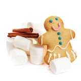 Gingerbread man cookie and white marshmallow isolated on white b Stock Photo