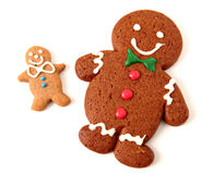 Gingerbread man cookies. On white background Royalty Free Stock Photos