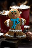 Gingerbread Man Cookies And Hot Chocolate, Vertical Closeup Royalty Free Stock Photography