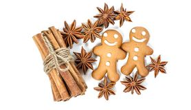 Gingerbread man cookies Christmas food spices ingredients. Gingerbread man cookies. Christmas food spices ingredients isolated on white background royalty free stock photo