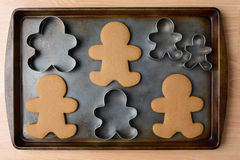 Gingerbread Man Cookies and Cutters Stock Photos