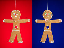 Gingerbread man cookies for Hanukkah Royalty Free Stock Photo