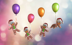 Gingerbread man cookies holding colorful balloons floating. On colorful background, 3d illustration Stock Photography