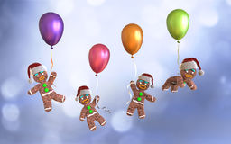 Gingerbread man cookies holding colorful balloons floating. On blue background, 3d illustration Stock Photo