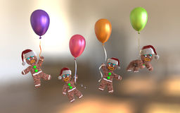 Gingerbread man cookies holding colorful balloons floating. On glowing gold background, 3d illustration Stock Image