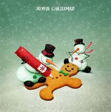 Gingerbread man cookies. Holiday greeting card or illustration with two Snowmen  decoration Gingerbread Man. Computer graphics Royalty Free Stock Images